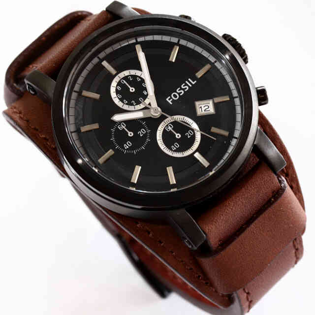Jam Pria Fossil Chronograp Black Leather Strap