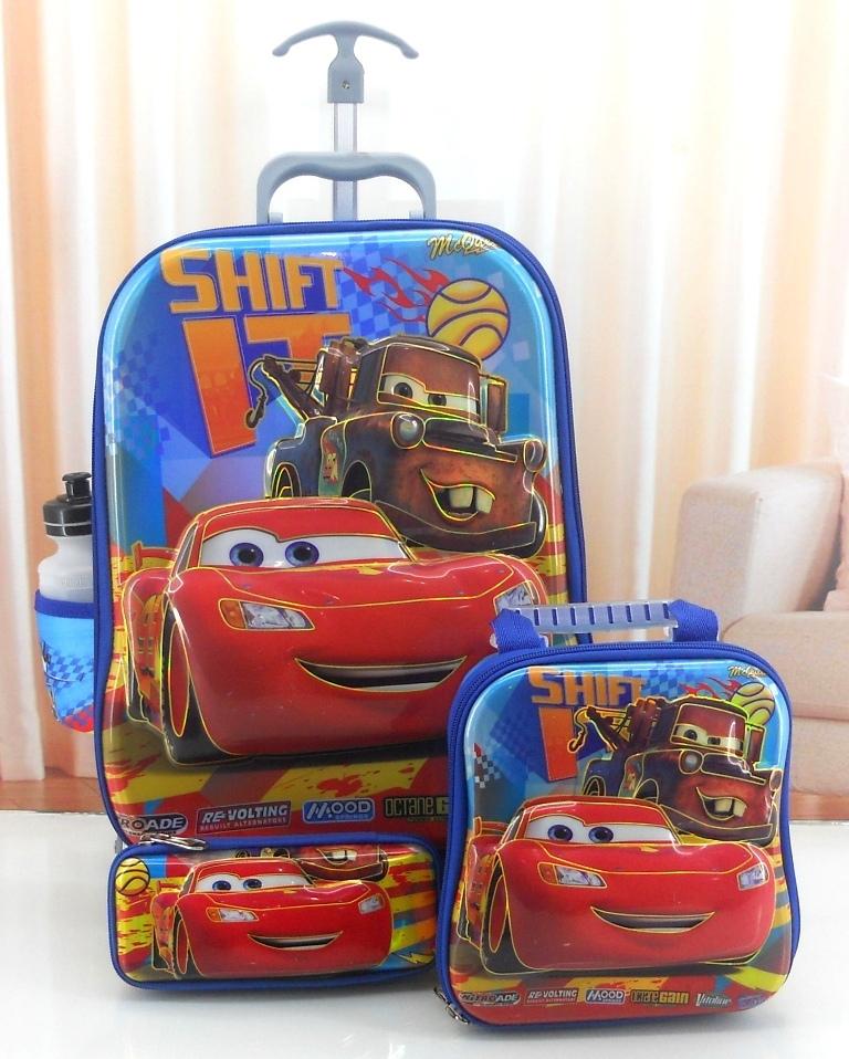 PROMO Tas Troli Trolley TK SD Sekolah Anak 6 Dimensi Cars McQueen 4 In