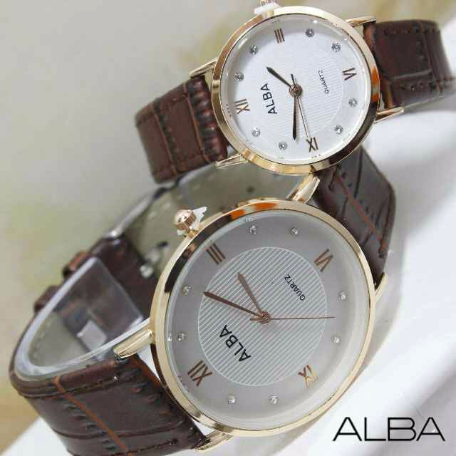 JAM TANGAN ALBA COUPLE DARK BROWN ROSEGOLD TERBARU