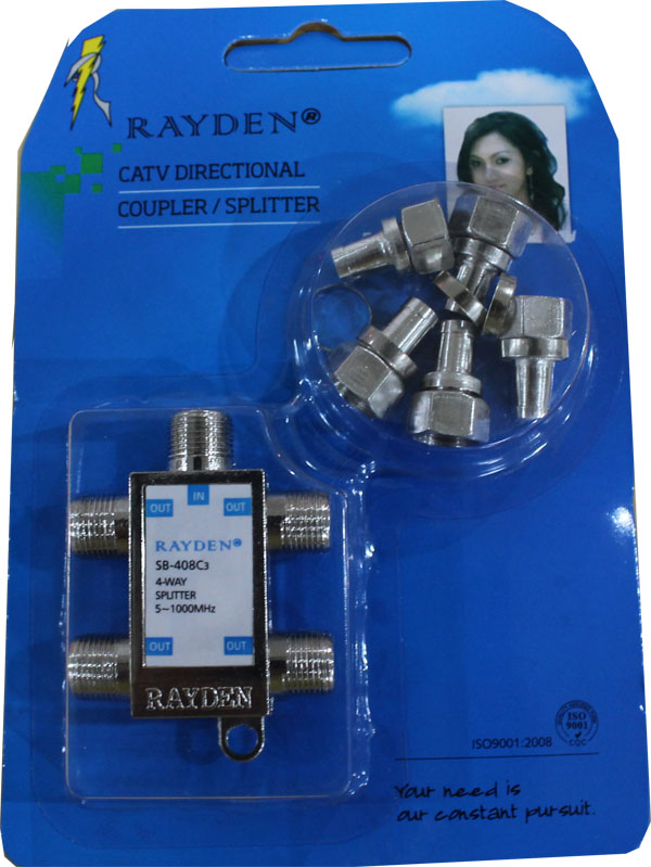 Splitter TV Merk Rayden 4 Cabang (CATV Directional Coupler)