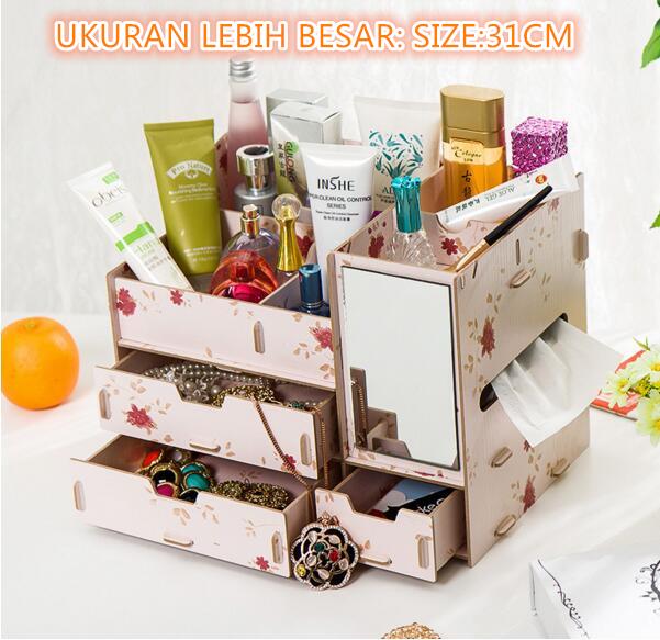 Rak Kosmetik Bahan Kayu (Bercermin Dan Kotak Tissue) Desktop Stora