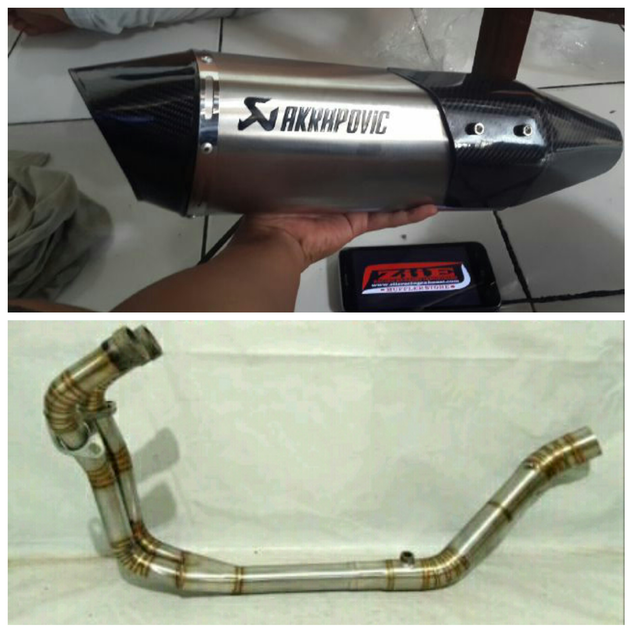 Knalpot Akrapovic Oval Cover Full System MT25, Z250