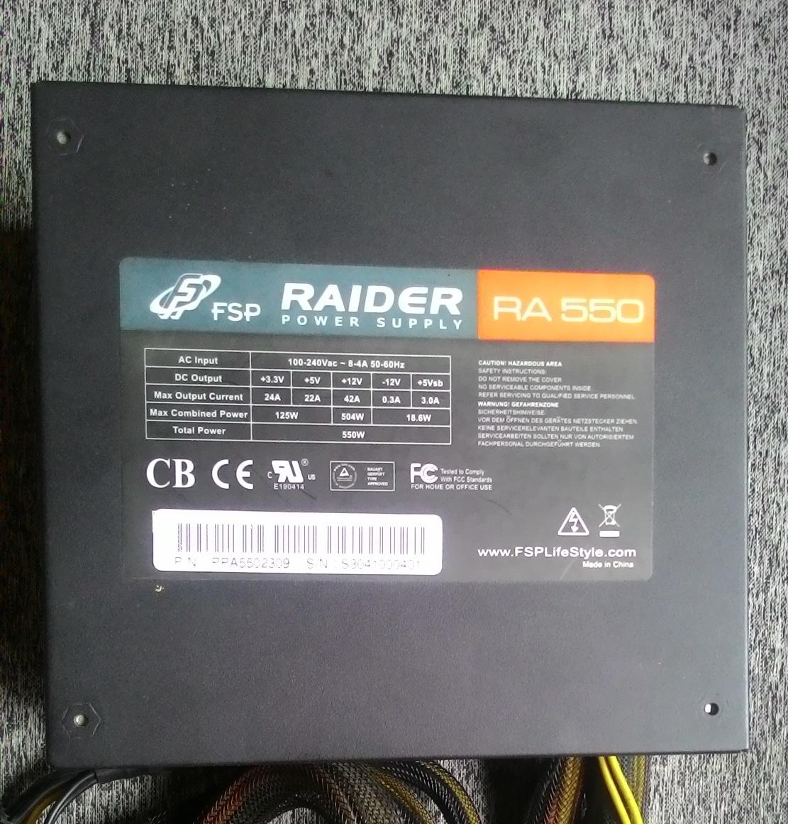 PSU FSP Raider 550 Watt 80 + Silver