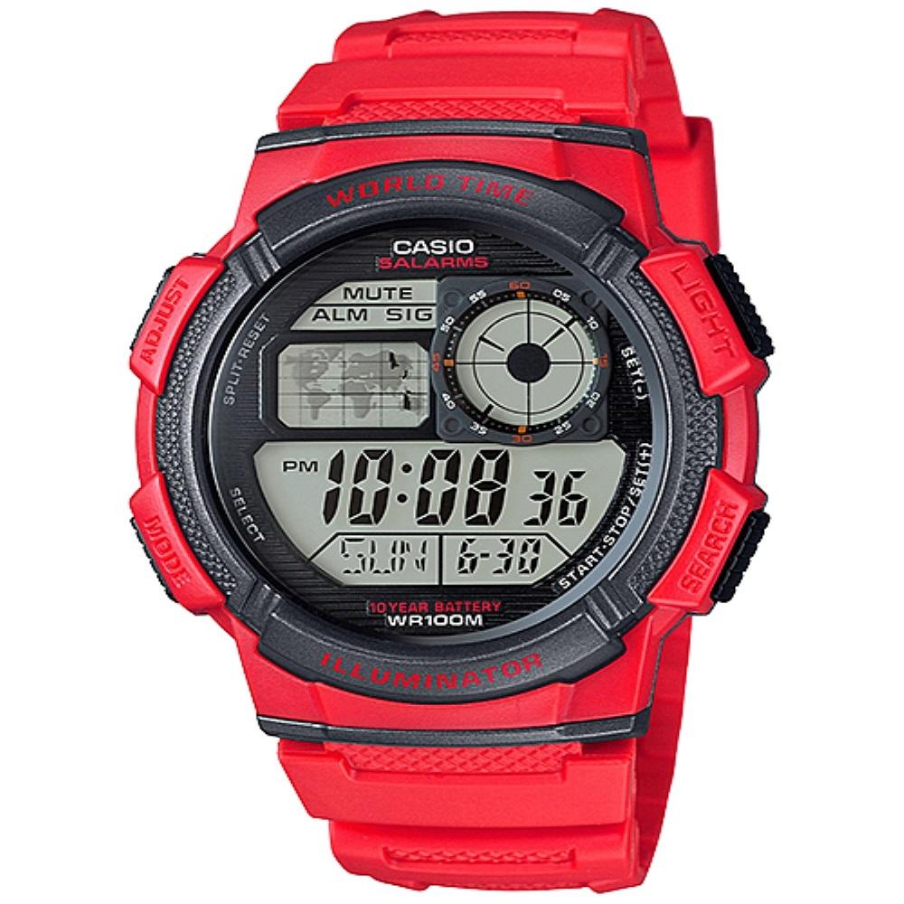 Casio Digital Jam Tangan Pria Merah AE-1000W-4A Original PALING MURAH