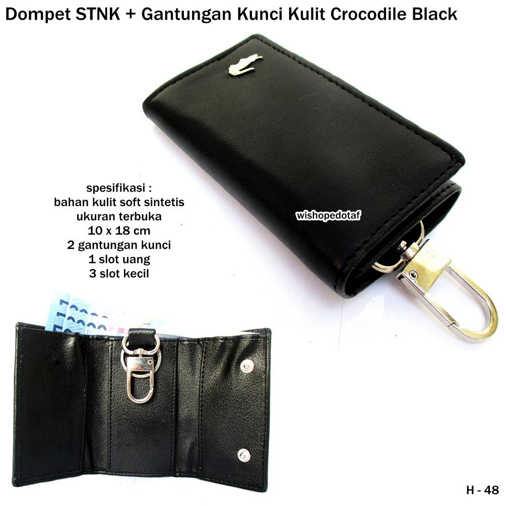 Dompet Stnk Dan Gantungan Kunci Kulit Crocodile Black3