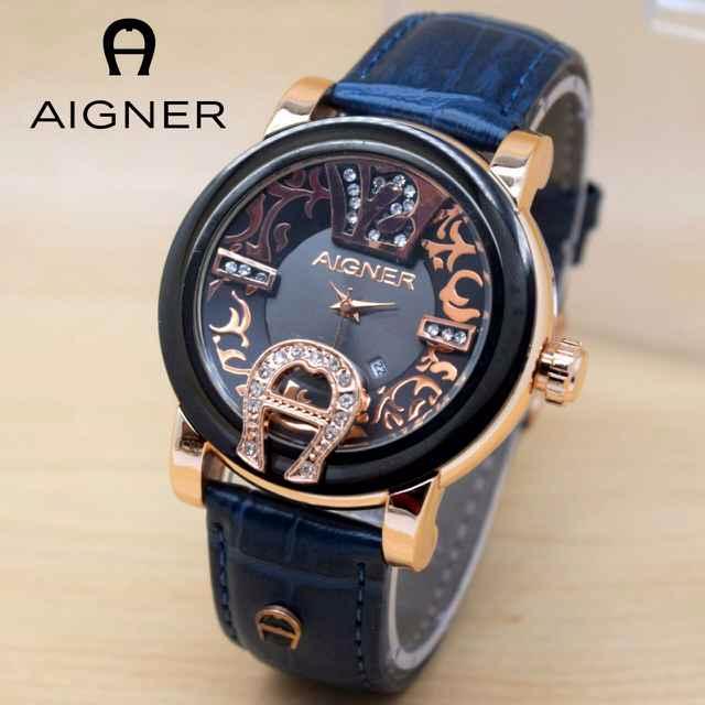 Jam Tangan Wanita / Cewek Aigner GB717 Batik Polos Leather Dark Blue