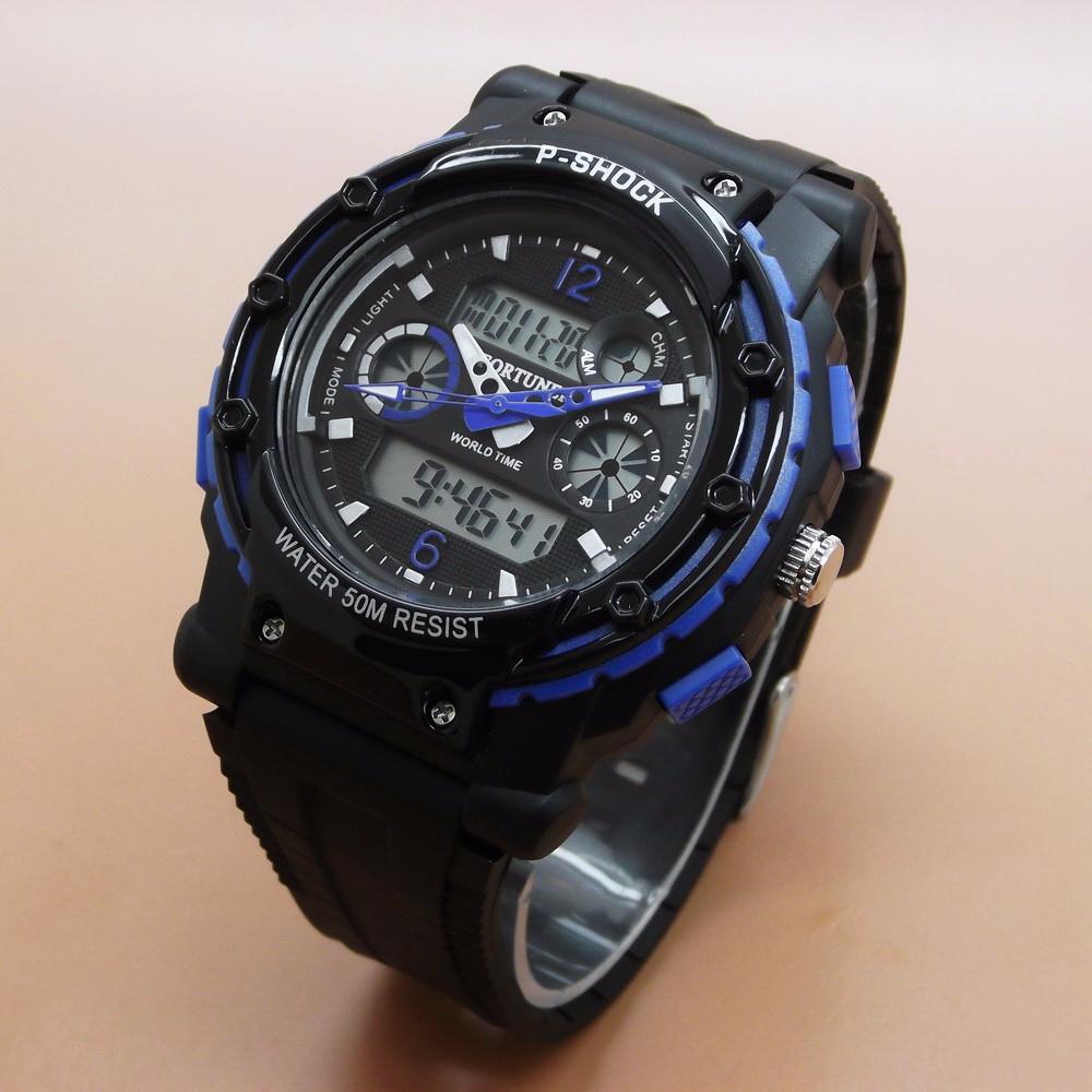Jam Tangan Pria / Cowok Fortuner Original FR2110 Rubber Black Blue