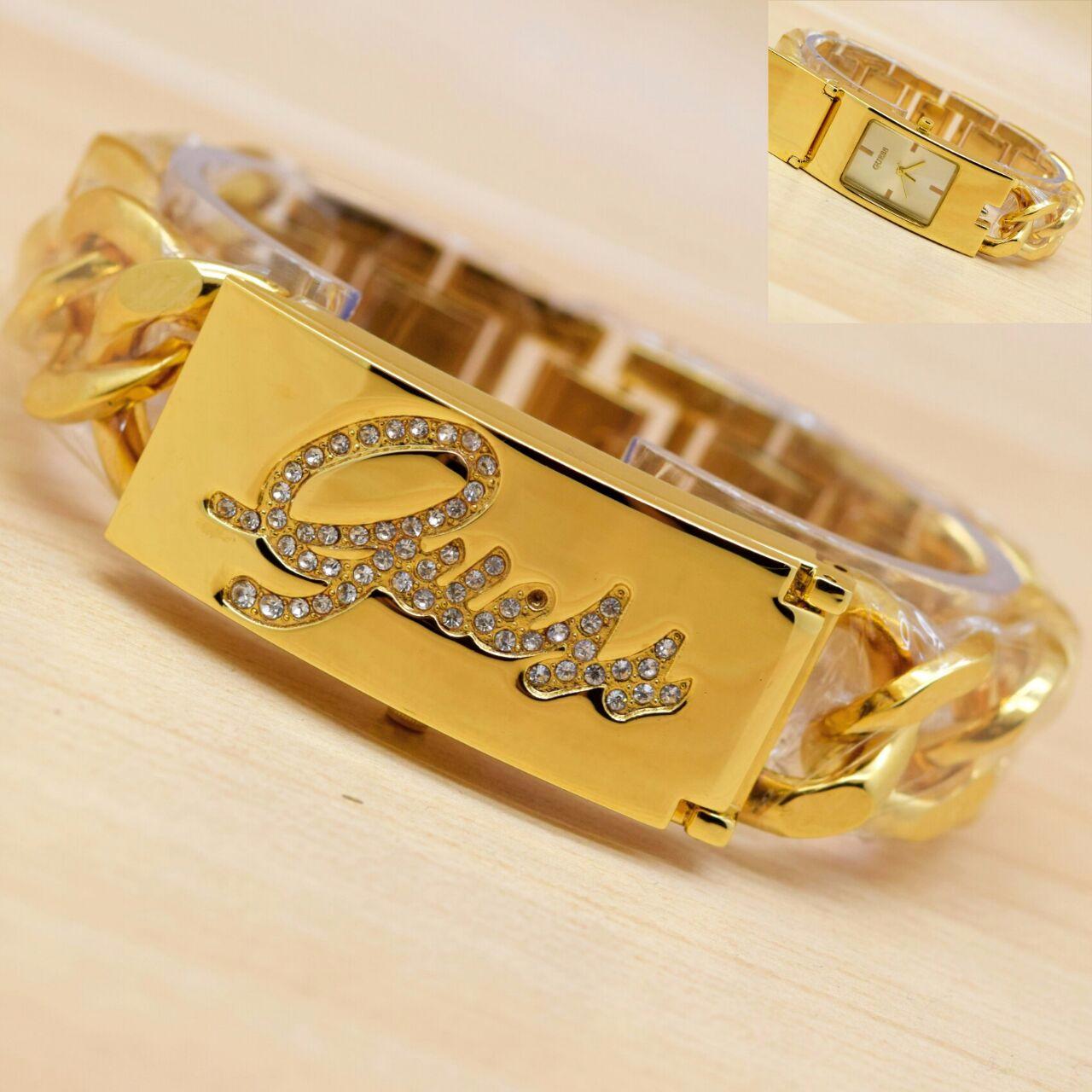 Jam Tangan Wanita / Cewek Guess Buka Tutup Rantai Gold Murah