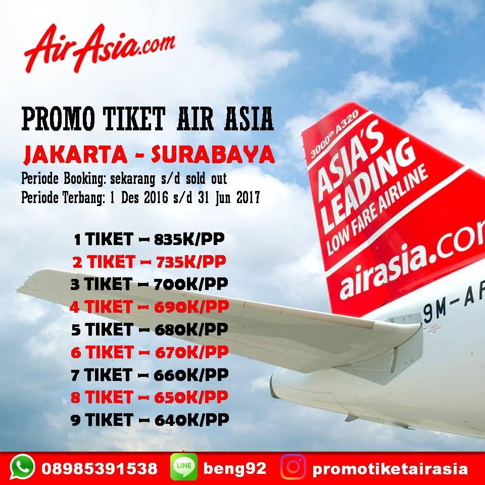 Jual Tiket Promo Air Asia Jakarta Surabaya Pp 835 K Tokopedia