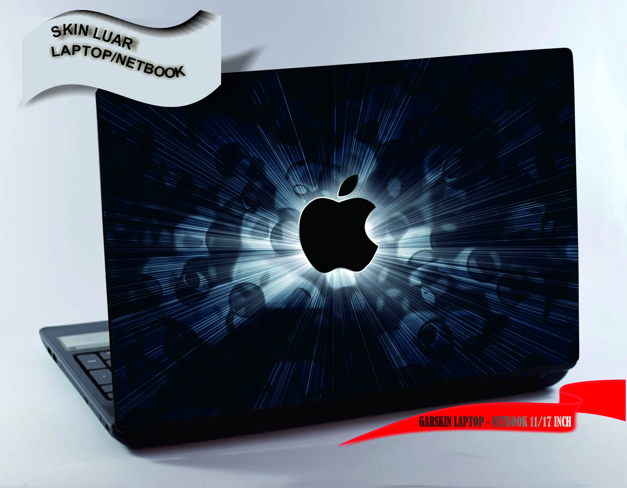 Garskin luar Laptop/Netbook - Black Apple design