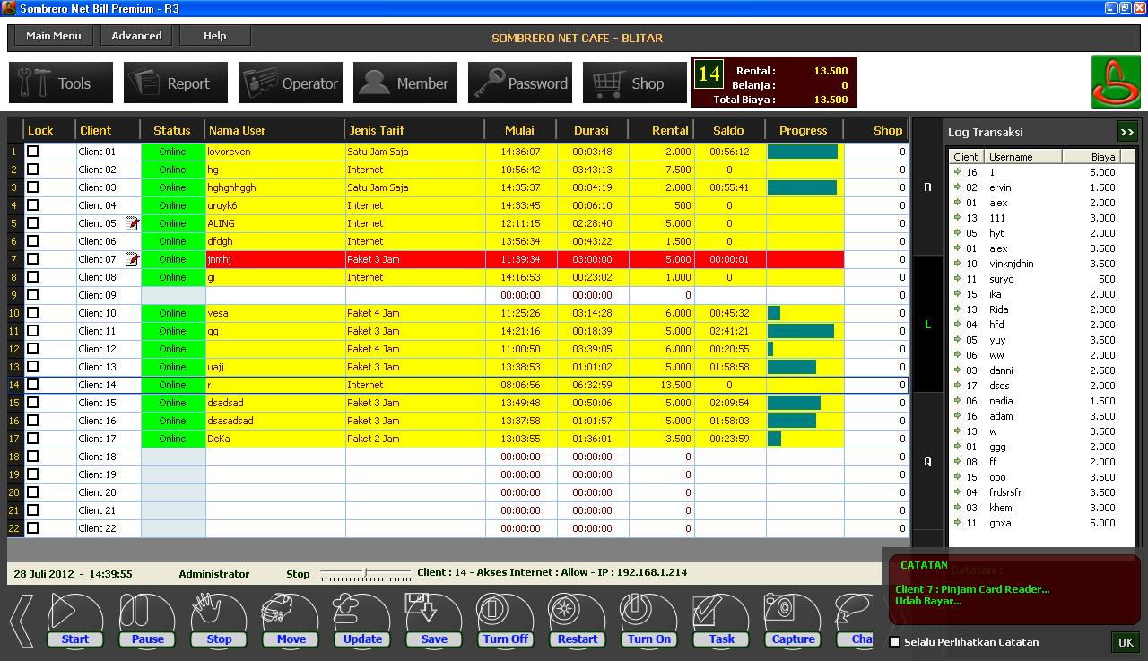 Download billing warnet gratis