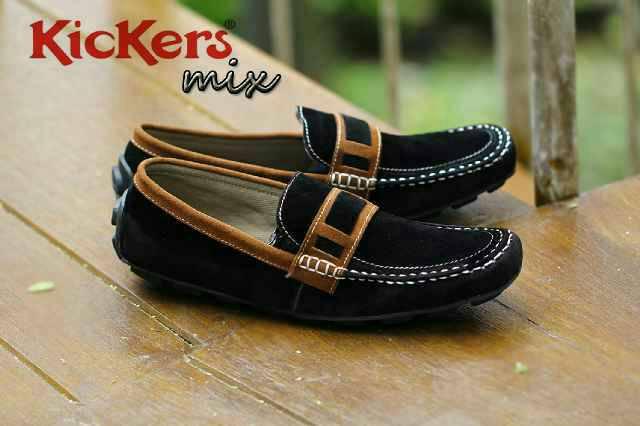 sepatu kickers mix suede hitam