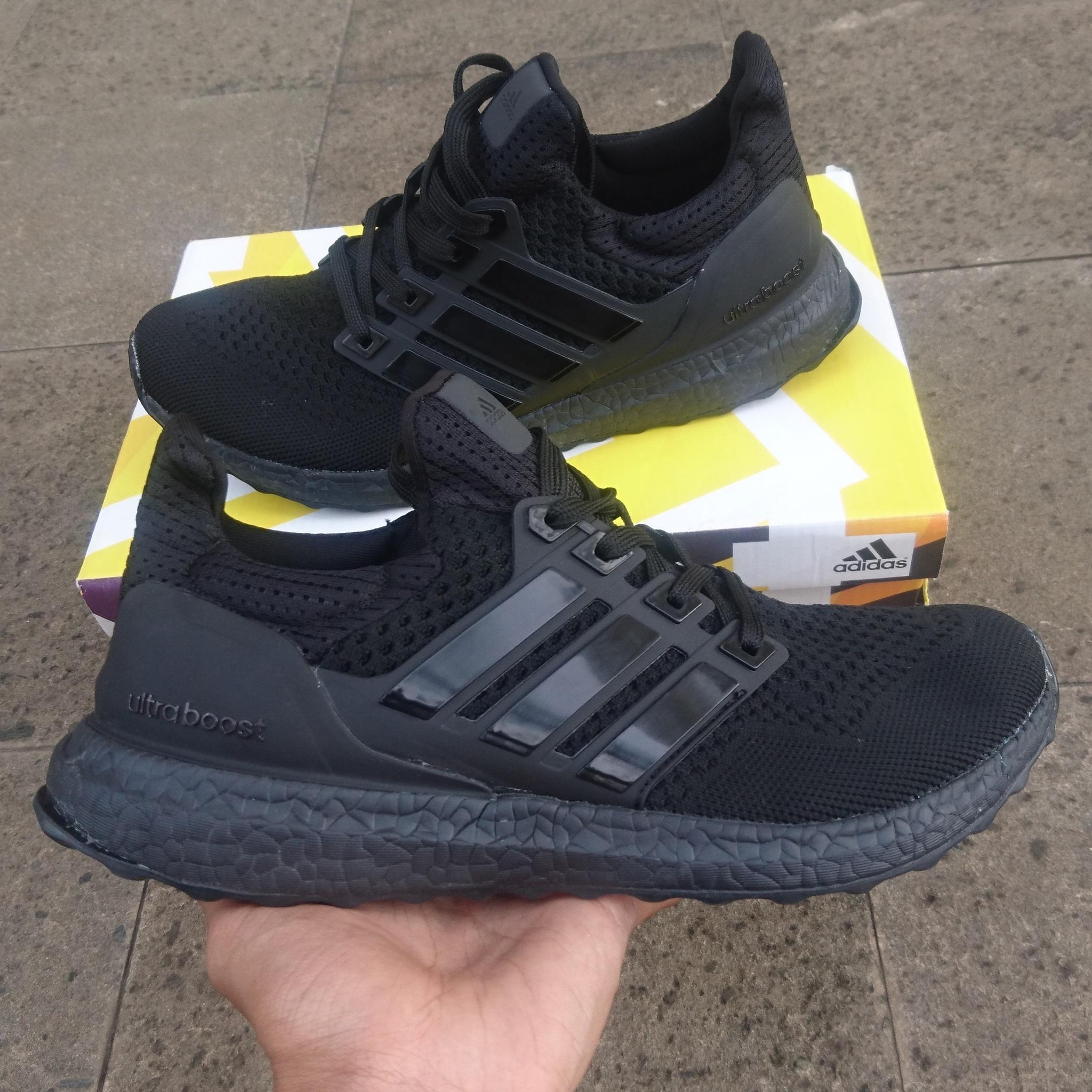 0fd53554e14d4 ... authentic jual sepatu adidas ultra boost triple black premium quality  adhezta sport tokopedia 536bf 1ca2a