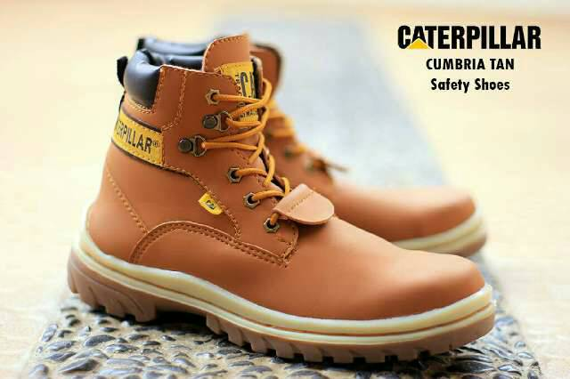 sepatu boot safety caterpillar cumbria tan