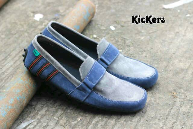 kickers bara blue grey suede