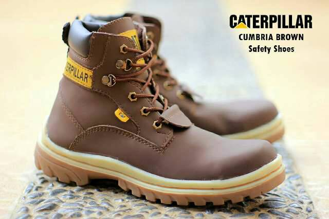 sepatu boot safety caterpillar cumbria coklat