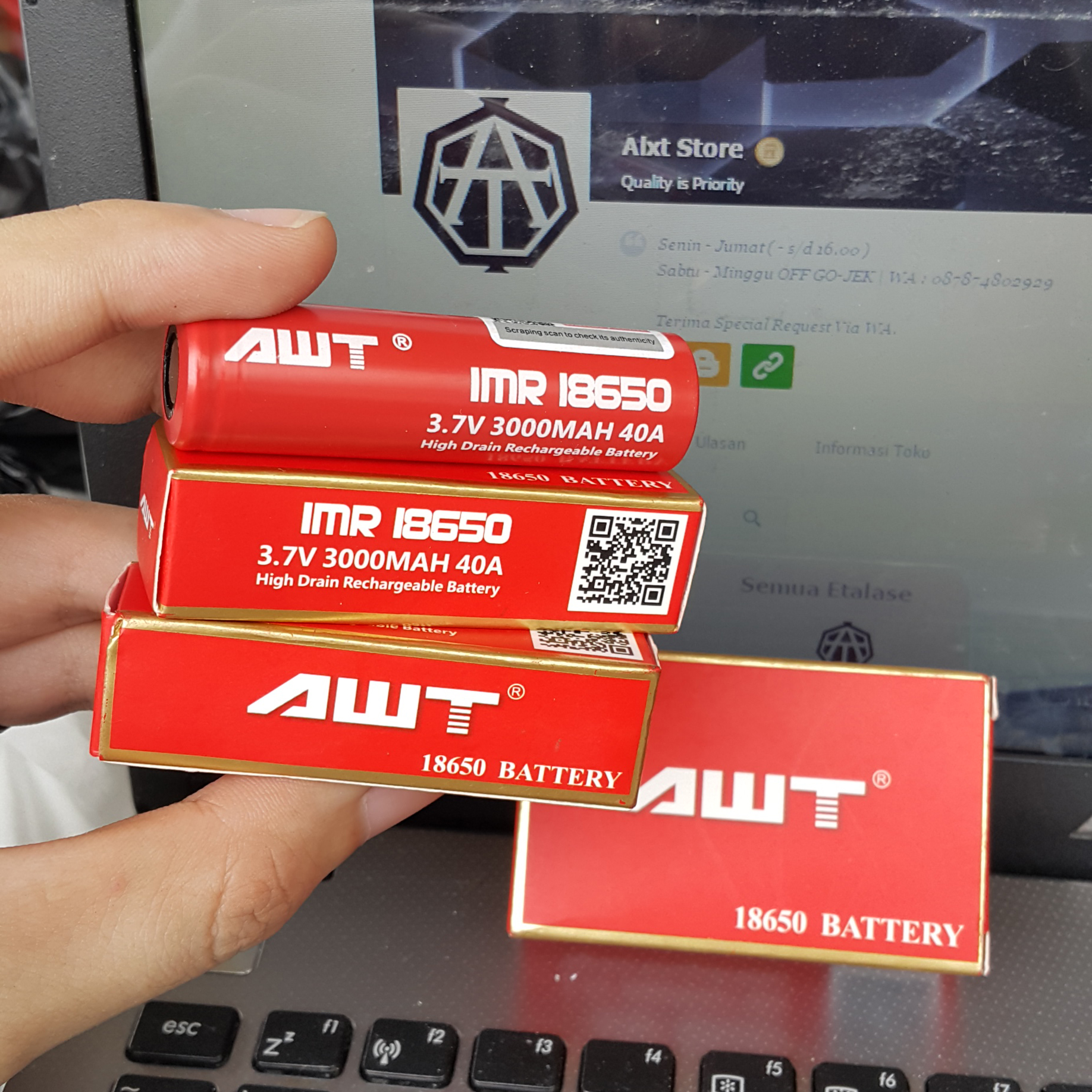 Jual Original Red Awt 18650 3000mah 40a Battery Batre Merah Vape For Authentic Vapor Alxt Store Tokopedia