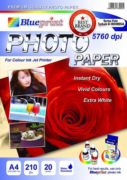 Kertas Foto Glossy 210 Gsm A4 Blueprint