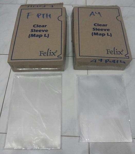 Map L / Clear Sleeve Felix Plastik Putih Bening A4 / F4