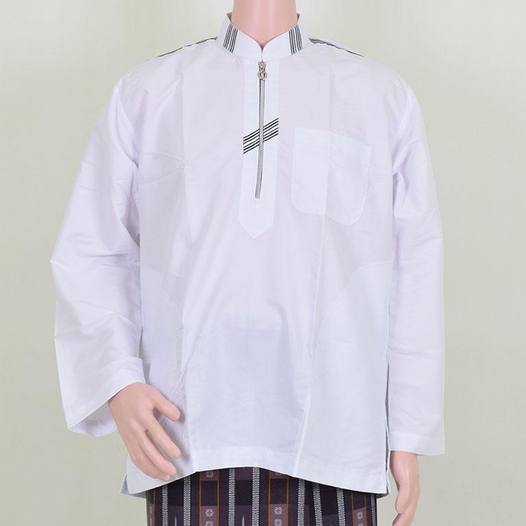 Jual Baju Koko Pria Putih Resleting Sederhana Baju