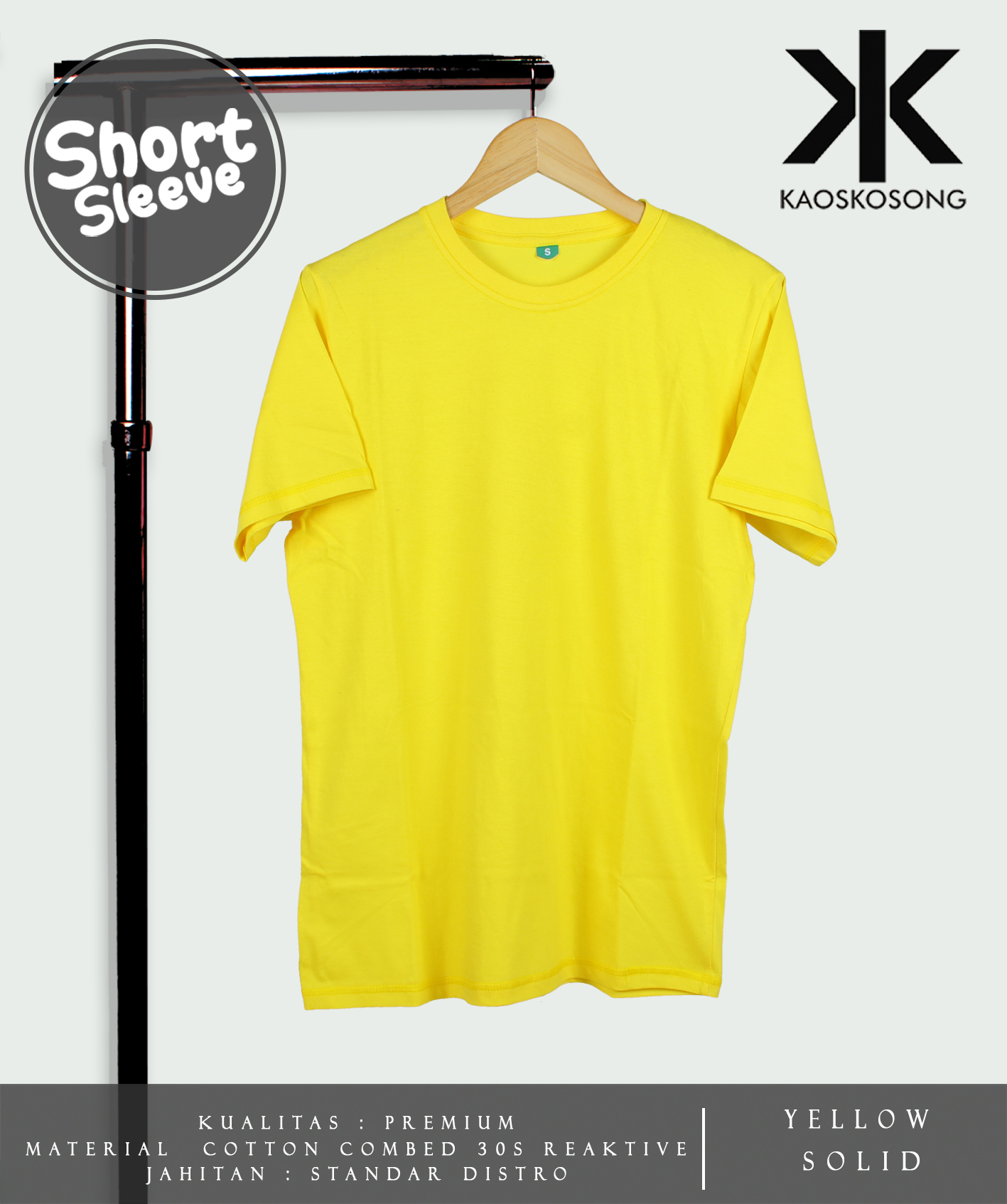 Jual Kaos Polos Yellow Solid Cotton Combed 30s Soft Reaktif Blank Grey Hat Tokopedia
