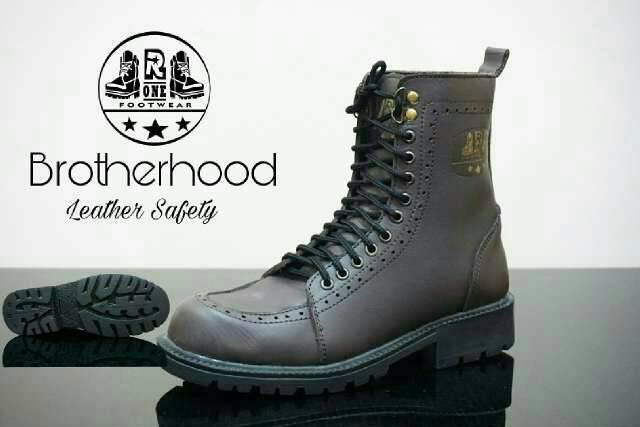 sepatu boot safety kulit premium r one brotherhood black