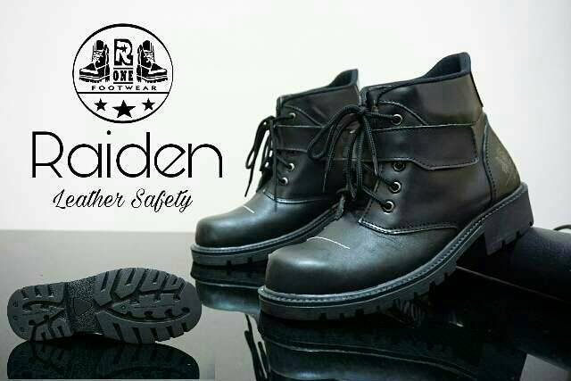 sepatu boot safety kulit r one raiden black