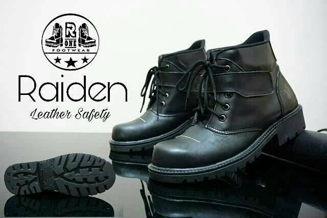 sepatu boot safety kulit r one raiden black