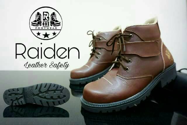 sepatu boot safety kulit r one raiden brown