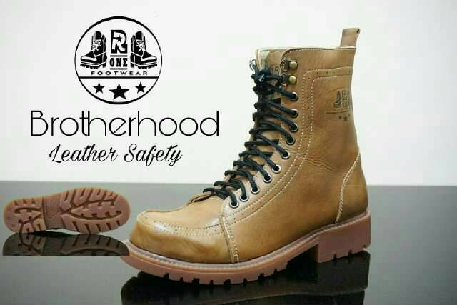 sepatu boot safety kulit premium r one brotherhood tan