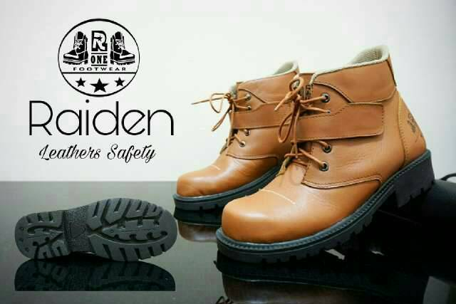 sepatu boot safety kulit r one raiden tan