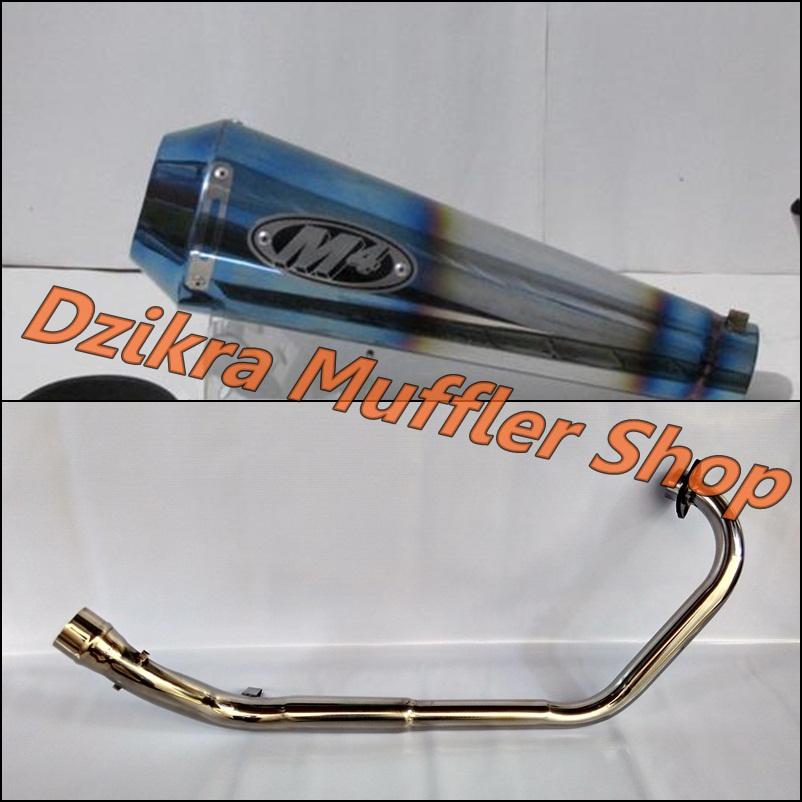 Knalpot M4 Half Blue For CB150R / CBR150R / MegaPro / Tiger / Verza