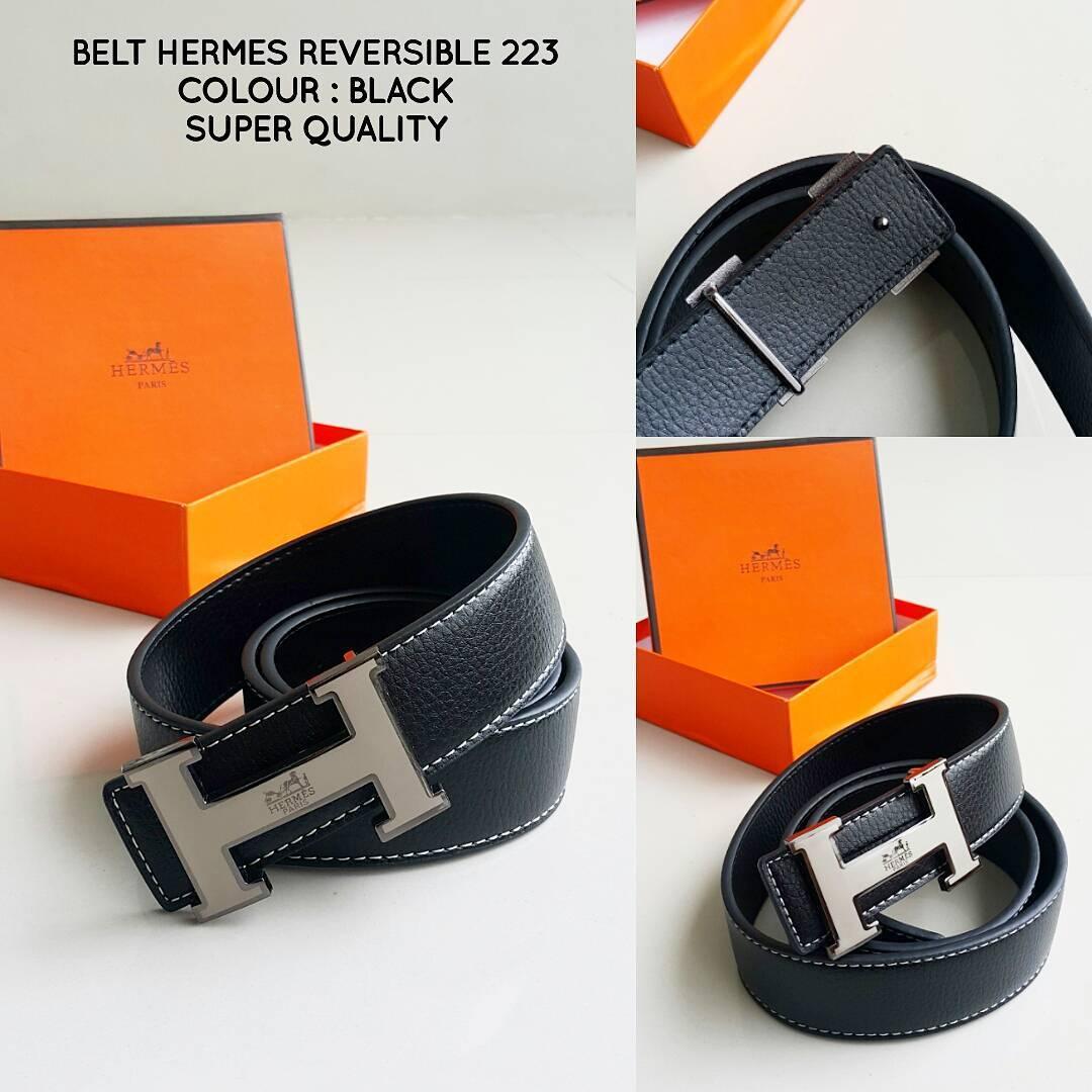 BELT HERMES REVERSIBLE BLACK 223 | SABUK IKAT PINGGANG PRIA COWOK