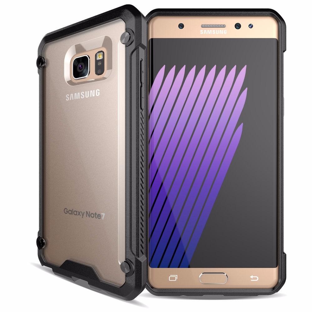 Samsung S6 Edge Plus Clear Doff Back  TPU Armor Cushion Hybrid Case