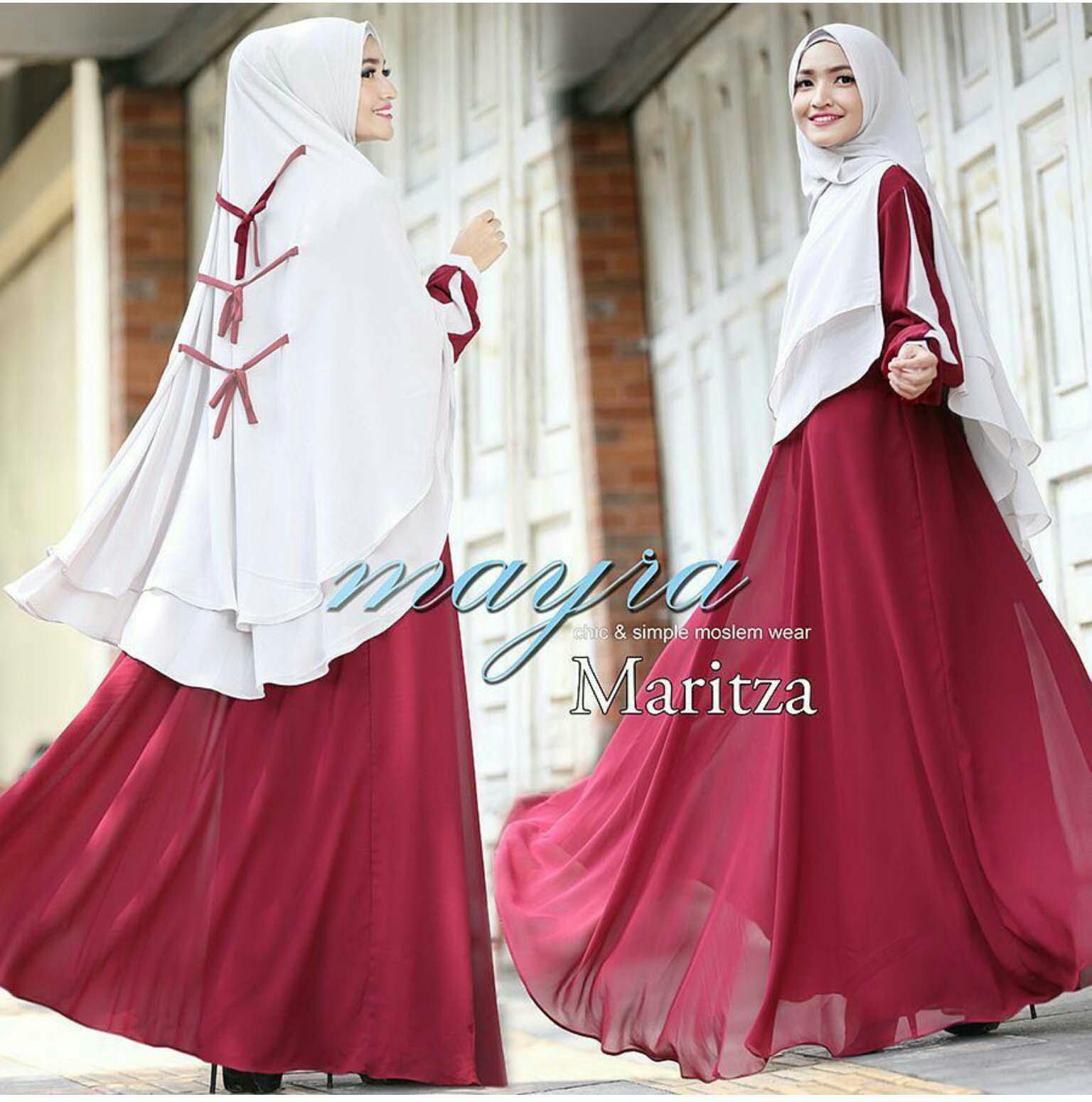 Jual Baju Muslim Murah   Gamis Murah Maritza Maroon - Abqarriyah ... eba255606a