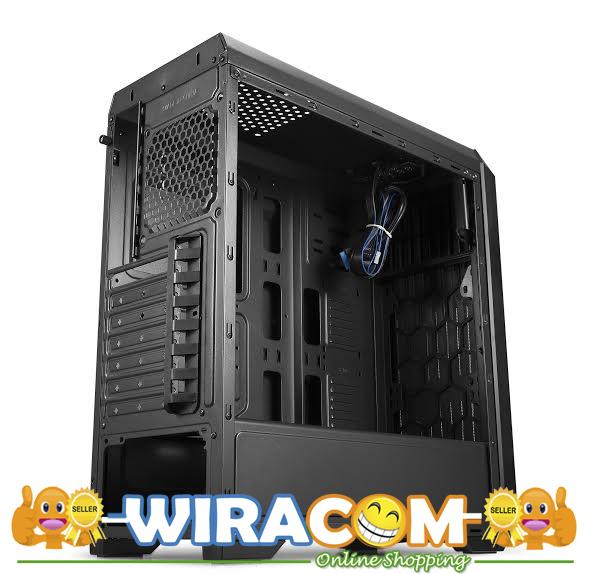 cube gaming jezen black full acrylic window 12cm red led fan