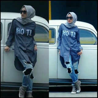 HOTD DENIM katun denim/blouse/tunik/atasan/top muslim/hijab