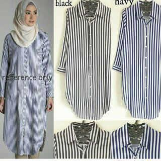 evony stripe katun /blouse/tunik/atasan/top muslim/hijab