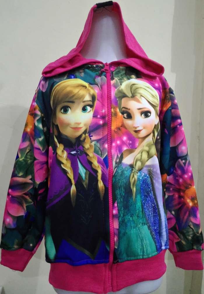 JKKD84 - Jaket Anak Frozen Elsa Anna Flower Pink Fanta