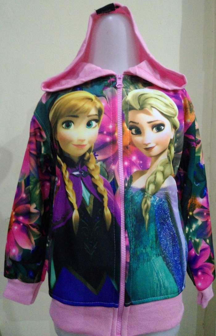 JKKD83 - Jaket Anak Frozen Elsa Anna Flower Babypink
