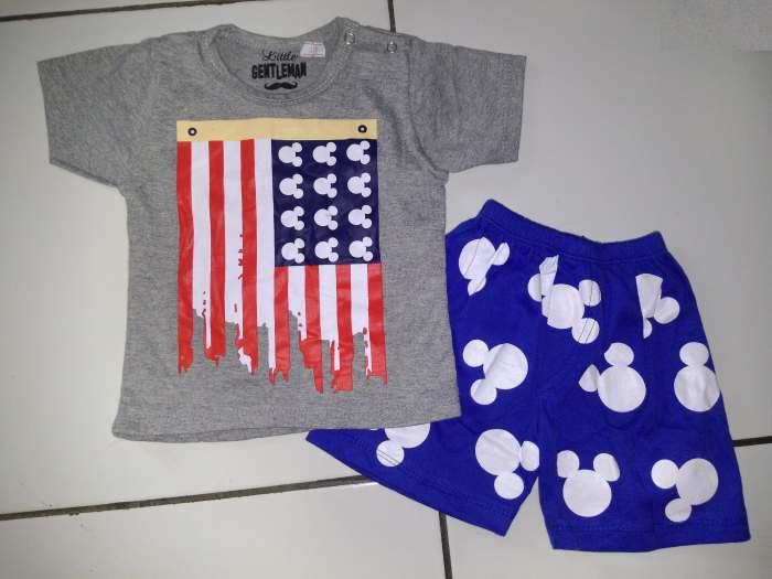 STKDK139 - Setelan Anak Kecil Mickey Flag Blue Pant Murah