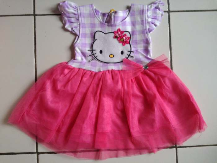 DRKD96 - Dress Anak 1Thn Hello Kitty Salur Purple Pink Murah