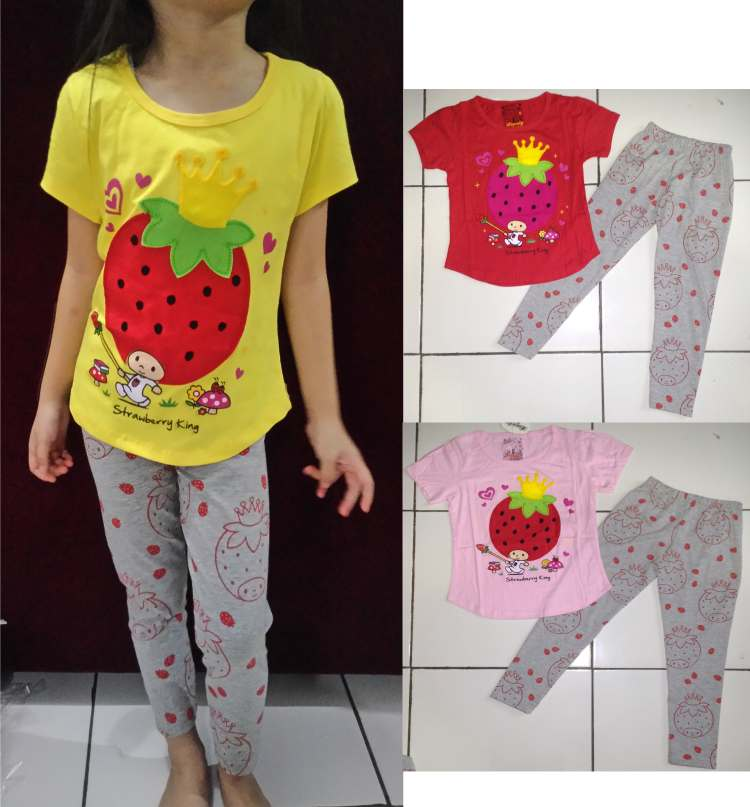 STKD225 - Setelan Anak Strawberry Crown Murah