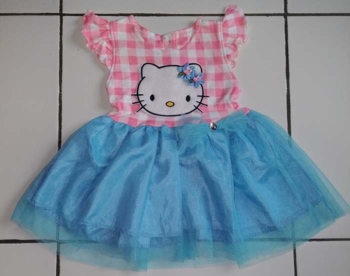 DRKD98 - Dress Anak 1Thn Hello Kitty Salur Pink Blue Murah