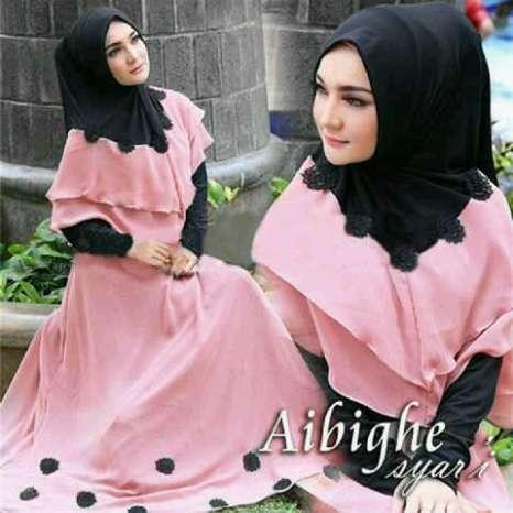 Hijab bergo abighie Pink-Hitam ( maxi + Busui + Bergo pad )