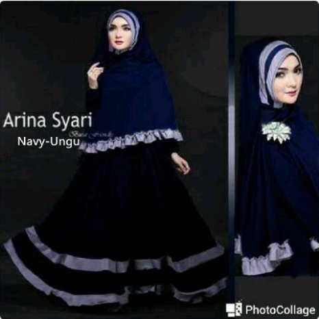 Hijab bergo arina navy ( maxi + Busui + Bergo )