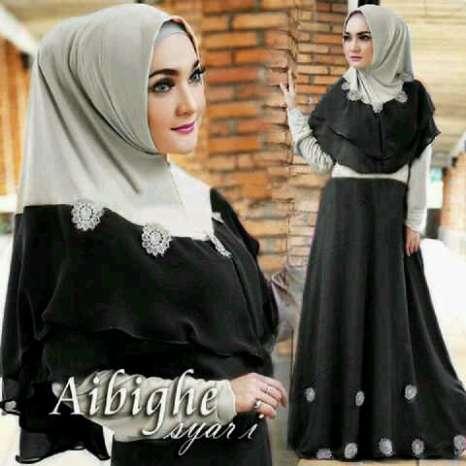 Hijab bergo abighie hitam  ( maxi + Busui + Bergo pad )