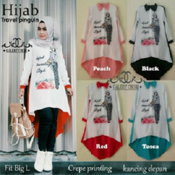 hijab travel pinguin bhn katun /blouse/tunik/atasan/top muslim/hijab