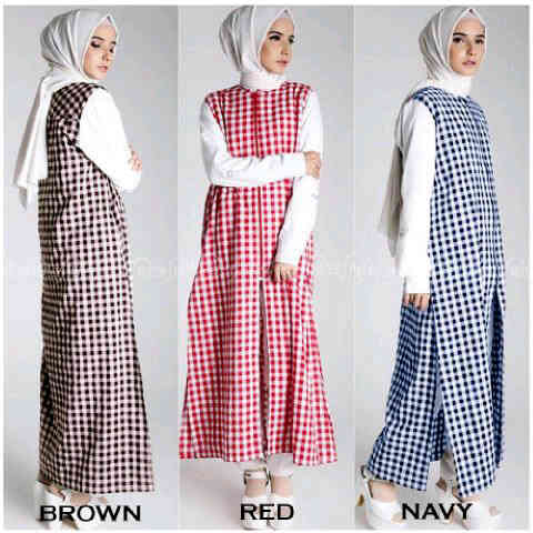 zaskia grid dress katun /blouse/tunik/atasan/top muslim/hijab