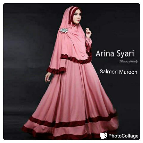 baju muslim murah / arina salmon gamis syari / hijab syari